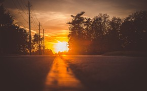 Picture road, light, sunset