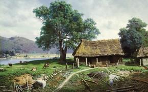 Picture landscape, river, picture, rural house, Mikhail Klodt, View of the estate, Sagital near Riga