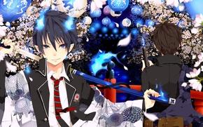 Picture anime, art, guy, Ao no Exorcist, Rin, Blue Exorcist