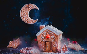 Picture the moon, cookies, Christmas, house, cakes, gingerbread