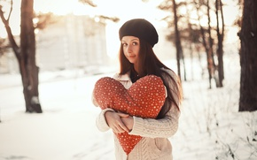 Wallpaper winter, romantic, heart, love, heart, girl