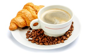 Picture coffee, Cup, white background, drink, saucer, grain, croissant