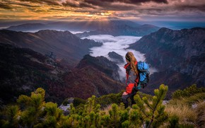 Wallpaper clouds, rays, mountains, Adnan Bubalo, fog, pine, trees, girl, the sun, the sky, landscape, tourist
