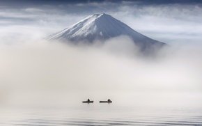 Picture fog, people, mountain, boats