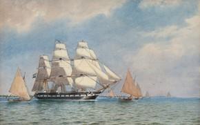 """Picture oil painting, Seascape, Marinmåleri, The Frigate """"VANADIS"""", Jakob Haq"""