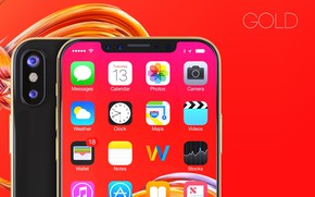 Picture Apple, iPhone, gold, camera, hi-tech, smartphone, technology, iPhone X