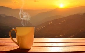 Picture the sun, dawn, coffee, morning, Cup, hot, coffee cup, good morning