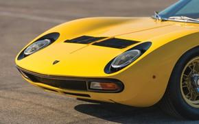 Picture Color, Auto, Yellow, Lamborghini, Machine, Bright, The hood, 1971, Lights, Car, Supercar, The front, Lamborghini …