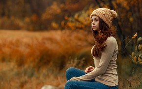 Picture autumn, grass, girl, trees, glade, hat, jeans, hairstyle, jacket, cute, nature, redhead, bokeh