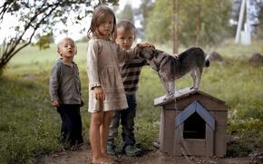 Picture children, mood, dog