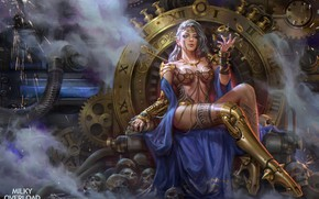 Wallpaper erotic, girl, pose, magic, art, steampunk, skull, sitting, the throne
