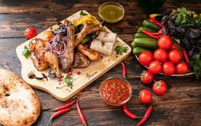 Picture Vegetables, Tomatoes, Cucumbers, Meat, Pita, Grill, Adjika