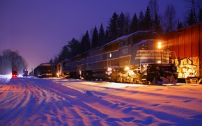 Picture locomotive, snow, winter, composition, trees, train, lights, night, railroad, forest