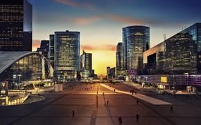 Picture city, Paris, twilight, sky, sunset, square, France, evening, people, buildings, Arc de Triomphe, architecture, skyscrapers, …
