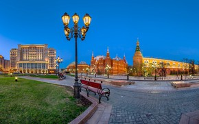 Wallpaper lawn, building, lights, Moscow, Palace, lights, the evening, benches, Russia, The Kremlin, Arena, the sidewalk