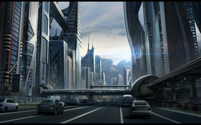 Wallpaper road, the sky, machine, the city, future, street, building, the transition, sci fi cityscape