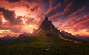Picture road, the sky, clouds, mountains, house, trail, the evening, morning, Alps, meadows