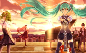 Picture sunset, guitar, Vocaloid, characters, Hatsune Miku
