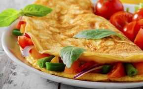 Picture tomatoes, Basil, omelette
