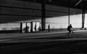 Picture Park, music, mood, contrast, male, walk, genre, pedestrians, bikes, black and white, dynamics, Cycling, people …