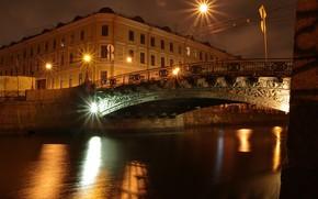 Picture night, bridge, lights, home, lights, Saint Petersburg, channel, Russia