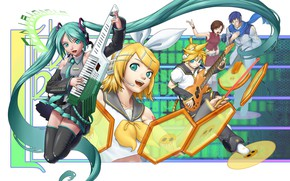 Picture music, girls, guys, Vocaloid, Vocaloid, Hatsune Miku