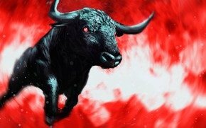 Picture bull, rage, mad, a bloody mist, red eyes, black, horns, vortex, chase