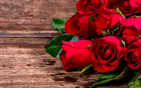 Picture flowers, roses, bouquet, red, red, love, wood, flowers, romantic, roses