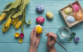 Picture Flowers, Tulips, Easter, Eggs, Hands, Decoration, Holiday, Paint, Mood, Brush