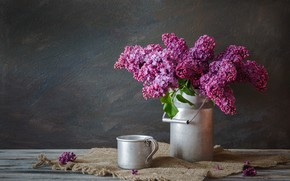 Picture flowers, bouquet, mug, lilac, cans