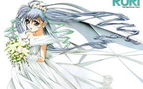 Picture bouquet, gloves, the bride, wreath, veil, blue hair, art, wedding dress, Martian Successor Nadesico, Ruri …