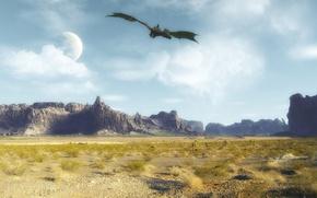 Picture dragon, dragon, alien planet, svyatoslav lee, flight of the dragon, dragon fly, fantastic valley