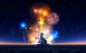 Picture the sky, girl, night, rain, guitar, puddles, fireworks, Y_Y