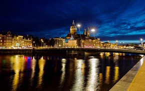 Picture the sky, bridge, lights, river, home, the evening, Amsterdam, lights, Netherlands, promenade