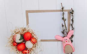 Picture toy, eggs, Spring, rabbit, Easter, socket, Holiday, twigs, Verba