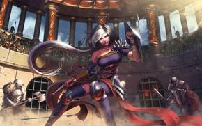 Wallpaper girl, elf, dagger, battle, shield, arena, Gladiator, Antalya