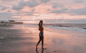 Picture sand, beach, the sky, girl, clouds, sunset, curls