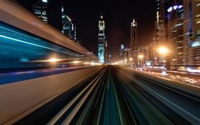 Wallpaper light, night, the city, speed, excerpt, Dubai, UAE