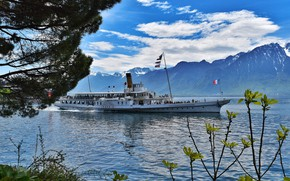 Picture clouds, mountains, lake, Switzerland, ship, Montreux
