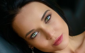 Picture look, close-up, face, model, portrait, makeup, brunette, hairstyle, beautiful, Angelina Petrova, Angelina Petrova, Chris Bos