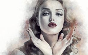 Wallpaper portrait, hands, girl, lips, art, face