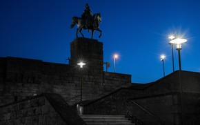 Picture the sky, night, lights, Germany, lights, monument, stairs, rider, the Emperor, Cologne, Kaiser Wilhelm I, …