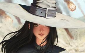 Picture Girl, hat, anime, face, black hair, meteorite, freckles, anime girl