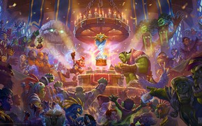 Wallpaper the game, Hearthstone, priest, magic, MAG, Goblin, warlock, art, card, world of warcarft, Blizzard, druid