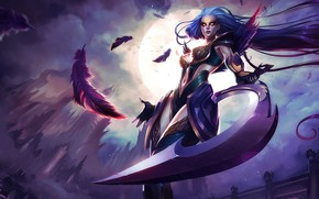 Picture Girl, The game, The moon, Feathers, Girl, Weapons, Hammer, Moon, Game, League of legends, Weapon, …