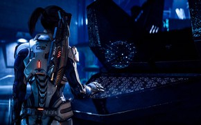 Picture gun, game, weapon, woman, Mass Effect, suit, Mass Effect Andromeda, Mass Effect: Andromeda