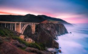 Picture sea, the sky, bridge, the ocean, rocks, morning
