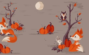 Wallpaper vector, Halloween, holiday, art, Fox, the moon, children's, pumpkin, night