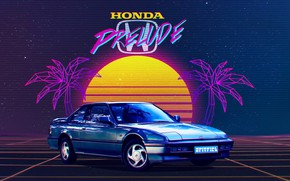 Picture The sun, Music, Stars, Neon, Space, Palm trees, Background, Honda, Electronic, Honda Prelude, Synthpop, Prelude, …