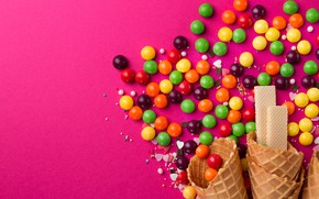 Picture candy, pink background, dessert, waffles, waffle cone